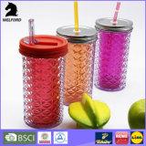 Capacidad grande del vaso 16oz, vaso plástico de acrílico, vaso doble de la pared de la paja