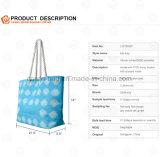Grande sacchetto di Tote stampato della tela di canapa della spiaggia con la maniglia della corda