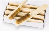 Жесткая щетка деревянного инструмента чистки ручки латунная стальная