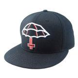 Chapéu liso do Snapback da borda do bordado preto da alta qualidade