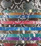 Cuoio artificiale impresso durevole del PVC del serpente per il sacchetto (A860)