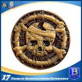 moneta d'ottone antica del ricordo dell'accumulazione 3D con il foro tagliato (Ele-C220)