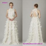 Appliques 3D florais uma linha vestido de casamento