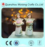 Sostenedor de vela hermoso de la luz del té del ángel del color de la resina casera de la decoración