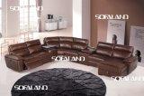 Sofá grande do Recliner do couro da forma do tamanho U da cor de Brown
