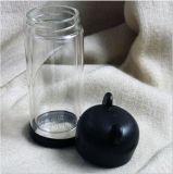 Bottiglia di acqua di vetro di doppi strati del coperchio del panda