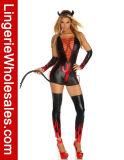 Costume Cosplay дьявола повязки сексуальных женщин Глубокий-V Criss-Cross