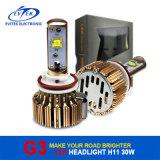 Evitek 크리 말 LED와 가진 황금 G3 30W 3000lm H11 LED 헤드라이트 전구; 차를 위한 크리 사람 LED 헤드라이트