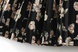 Saia plissada longa impressa flor com cintura elástica