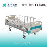 Больничная койка рукояток движимости 2 ручная с складывая усовиками (деревянный цвет)