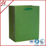 Os sacos de papel de compra luxuosos verdes os mais atrasados de sacos de papel do portador do saco do presente com pó pesado de Glister