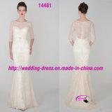 Романтичное тонкое венчание платья шнурка Mermaid с 3/4 втулками