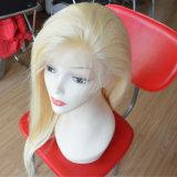 Da beleza brasileira do cabelo humano do Virgin da forma peruca cheia do laço com cabelo Pre-Arrancado do bebê