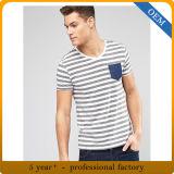 習慣の100%年の綿メンズは袖の縞の着せをショートさせる