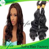 等級7Aの低価格のインドの波状の人間の毛髪の織り方