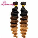 Cabelo humano malaio de Remy da cor de tom do cabelo três de Ombre