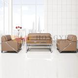 Cadeira moderna ajustada do sofá do escritório do sofá do escritório do couro genuíno do frame do metal (HY-S1003)