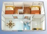 Camera prefabbricata moderna con le attrezzature della stanza da bagno