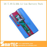 7.4V 2200mAh, 2600mAh Li-ione Battery Pack 18650-2s