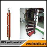 Trilhos da escadaria do aço inoxidável com corrimão de madeira
