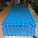 Feuille en acier ondulée galvanisée enduite d'une première couche de peinture de toiture enduite par couleur (0.13--0.8mm)