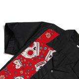 Dropship venta al por mayor del bloque del color de los cráneos Impreso EE.UU. Hombres Bolos camisas