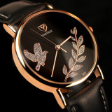 360 schöne Blatt-und Friedenstaube-Quarz-Uhr der Dame-Uhr olivgrüne für Frauen