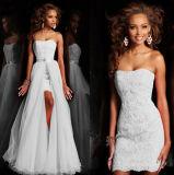Robe de mariage sans manche de lacet de jupe de bande détachable populaire de bande