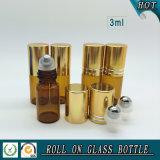 [3مل] عطر كهرمانيّة لف زجاجيّة على زجاجة مع نوع ذهب غطاء و [ستينلسّ ستيل] [رولّر بلّ]