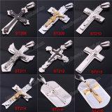 Большой крест серебра нержавеющей стали внутри готское перекрестное привесное Иисус (IO-st00A)