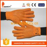 Связанный хлопком PVC перчаток ставит точки Dkp202