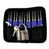 Candado transparente de la práctica con las herramientas azules de la maneta 12PCS Lockpicking del ABS (7) combinado