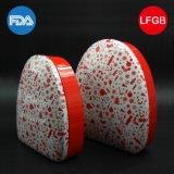Kosmetische rote Blechdose/Kasten mit Kreis-Dreieck-Form (T003-V5)