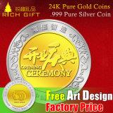 Monete pure su ordinazione del ricordo dell'oro del metallo 24k. 999 monete d'argento pure/oggetto d'antiquariato/monete di sfida colore dell'argento e dell'oro/fabbrica/fornitore moneta della copia in Cina