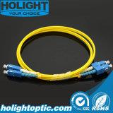 Sc del cable de la corrección de la fibra al amarillo a dos caras unimodal del Sc