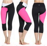 黒およびピンクの継ぎ目が無いスポーツCaprisの継ぎ目が無い3/4レギングの圧縮Caprisの継ぎ目が無い適性のズボン