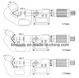 micrómetro del V-Yunque 3.4-4.2 '' x0.001 '' con 5 flautas