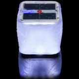 Lanterne campante gonflable pliable imperméable à l'eau légère solaire d'énergie solaire de PVC des prix de cube extérieur bon marché en éclairage de secours 10 DEL avec l'indicateur de niveau de batterie