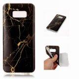 Tampa de borracha macia Shockproof magro flexível da pele do ouro de mármore TPU para a galáxia S8 de Samsung