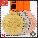 Personalizado de aleación de zinc Correr Medalla de Oro Acabado