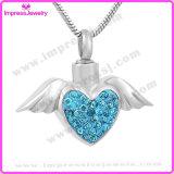 Herinnering van de As van de Tegenhanger van de Crematie van de Oppervlakte van het Kristal van de Halsband van de Urn van de Vleugels van de Engel van het hart de Herdenkings (IJD9770)