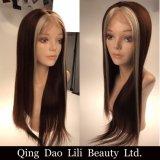 Parrucche malesi di Glueless dei capelli umani di Remy dei capelli diritti del merletto delle parrucche di colore completo serico del piano con la cinghia registrabile dei capelli del bambino