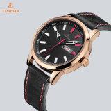 Edelstahl-Uhr mit lederner Brücke, Form-Uhr, Geschenk-Uhr 72257