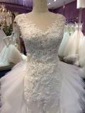 Платья венчания шнурка шеи Mermaid v с поездом Tulle