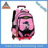 Saco de escola cor-de-rosa encantador do trole da roda da trouxa da escola dos estudantes do rolamento