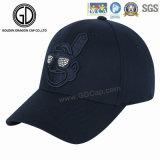 Gorra de béisbol de moda negra de la calidad del fabricante con bordado doble