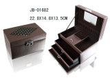 Caja de joyería de cuero clásico de la PU Negro