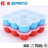9 Rasterfelder BPA geben Säuglingsnahrung-Vorratsbehälter-Kasten-Platin-Silikon-Säuglingsnahrung-Ergänzungs-Eis-Würfel-Tellersegment mit Kappe frei