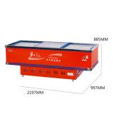 Congelador de refrigerador plano de la cabina de la puerta deslizante con capa que hace espuma gruesa