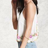 Damas de moda bordados flores Backless Camisole Blusa